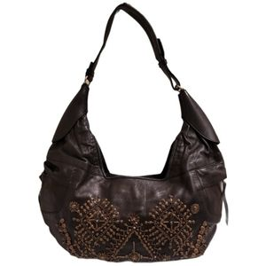 Ghurka Beaded Lambskin Leather Brown Hobo Bag